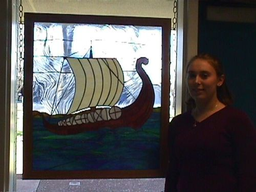 stained glass viking ship